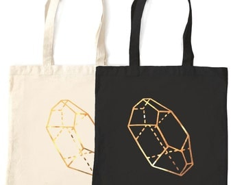 Gold Citrine Qwartz Crystal tote bag, cotton fabric metallic print beautiful gem jewel geology design, perfect gift for men and women adults