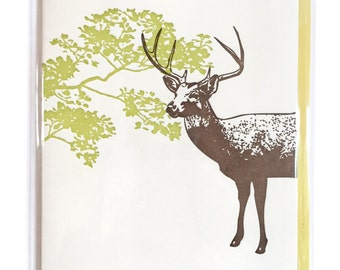 Letterpress DEER card, Stag card, Blank Greeting Cards, blank letterpress card, nature card, woodland card, greeting cards, thank you card