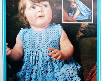 Vintage Crochet Pattern 1970s Baby Barbara Warner Couture Crochet Babies Dress Cape Hooded Cloak Lacy Summer Dress 70s UK original pattern