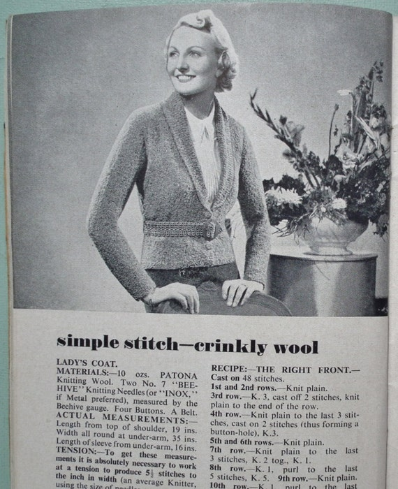 1930s Knitting Patterns : Knitting Made Easy Vintage 1930s Knitting by sewmuchfrippery