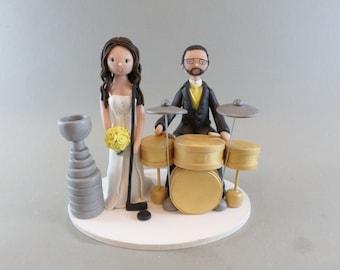 Wedding Cake Topper - Drummer & Singer Hockey Fans