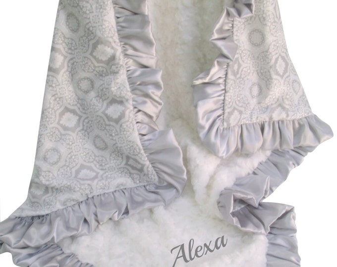 Silver Gray and Cream Printed Minky Blanket, 3 sizesCan Be Personalized