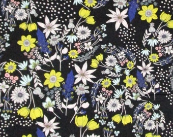 Blue Yellow White Black Flowers Floral Quilter's Weight Cotton Print Fabric - One Yard - Yardage - Fabric by the Yard
