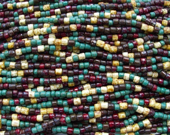 5mm & 4mm Opaque Venice Aged Picasso Tile Mix Czech Glass Beads - 18 Inch Strand (DW230)