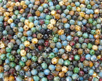 6mm Faceted Opaque Indian Summer Picasso Mix Firepolish Czech Glass Beads - Qty 50 (AS43)