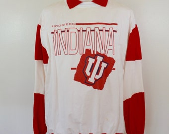 Vintage INDIANA HOOSIERS Basketball long sleeve sweat shirt size XL made in usa Dodger Brand