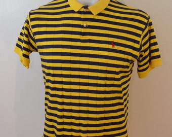 Vintage Ralph Lauren POLO shirt LARGE made in USA striped 80's