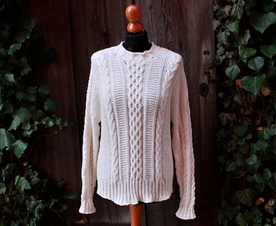 aran sweater,irish sweater, fisherman's jumper, natural white, handknitted
