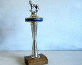 1970s Vintage Seattle Space Needle Dog Trophy | German Shepherd Trophy | 1960s Mid Century Landmark