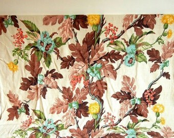 Vintage Barkcloth Fabric Yardage | Acorn Oak Leaf Barkcloth | Autumn Vintage Bark Cloth | Vat Colors