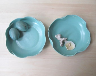 pair california pottery bowls fluted low console dish aqua blue jade green matte glaze