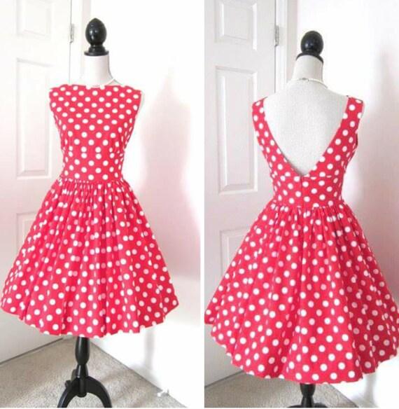 1960s Style Dress - Retro Polka Dot Dress - Audrey Hepburn Dress - Cotton Polka Dot Dress - Rustic Bridesmaid Dress - Rockabilly Dress