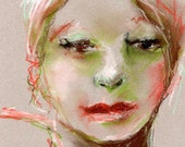 """Original Pastel on Paper - Woman's Face, """"Kissed"""" - 7 x 9 on Canson Pastel Paper"""