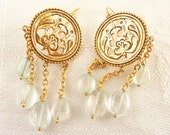 Vintage Gold-plated Filigree Bird Medallion MMA Replica Fish Hook Earrings with Aquamarine Dangles