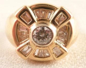 Vintage Size 10.5 14K Gold 3/8 Carat Diamond Deco Ring with Diamond Baguettes