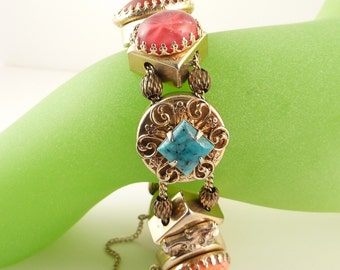 Vintage Victorian Revival Goldtone French Bracelet with Colorful Art Glass Beads
