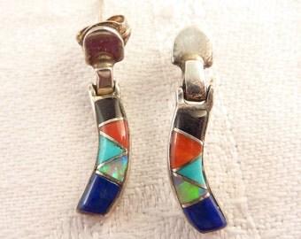 Vintage Sterling Gemstone Inlay Curved Shape Post Earrings