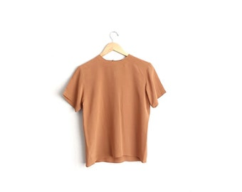 Size S // COPPER SILK TOP // Short Sleeve Shell Blouse - Loose Fit - Vintage '90s.
