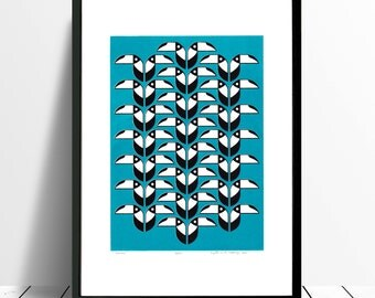 Toucans Limited Edition Screen Print (Turquoise) A3 size