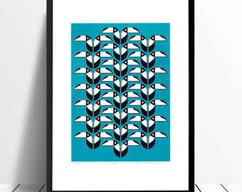 "Fine Art Print ""Toucans"" (Turquoise) - FREE Worldwide Shipping"