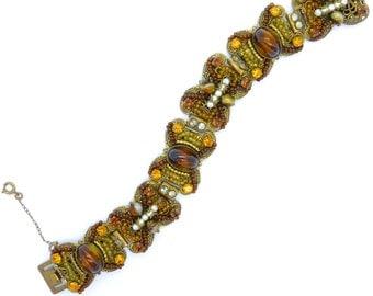 Vintage Czech filigree bracelet c1930's Art Deco costume jewellery Antique Bohemian brass faux agate