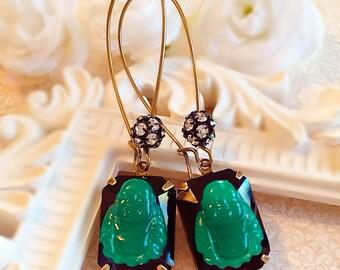 Buddha Earrings - Yoga Jewelry - Art Deco Jewelry - Buddhist - Religious Jewelry - Handmade Earrings - BUDDHA Jade