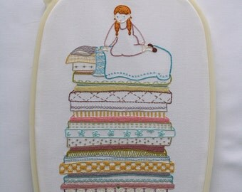 Princess and the Pea Iron on Embroidery Sampler Pattern