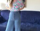 Wide Leg Light Blue Jeans High Waist Denim 70s XS