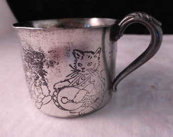 Childs Dancing Musical Kittens Silver Plate Cup