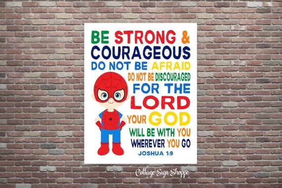 Joshua 1:9,Be Strong and Courageous,Be Strong & Courageous,Boys Superhero Nursery,INSTANT DOWNLOAD,Kids Scripture Art,Christian Nursery