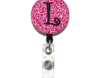 Pink Swirls with Navy Single or Three Letter Monogram Badge Reel  -  Personalized Embroidered Retractable ID Name Tag Holder