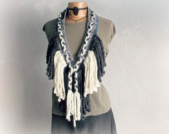 Boho Fringed Scarf Rustic Art Clothing Tribal Necklace Bohemian Chic Upcycled Recycled Grey Cream Braided Scarf Unique Funky Style 'HALLIE'
