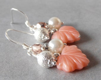 Coral Bridesmaid Earrings Bead Cluster Earrings Beaded Dangle Earings Coral Wedding Jewelry Bridesmaid Gift Leaf Earrings Ivory and Ginger