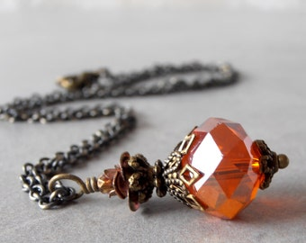 Orange Bridesmaid Necklaces Orange Crystal Pendant Necklace Bead Necklace Wedding Jewelry Handmade Bridesmaid Gift Antiqued Brass Necklace