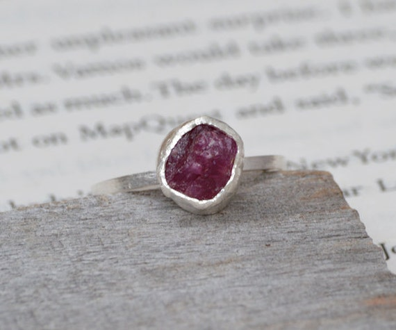 rough ruby engagement ring, rustic ruby stacking ring, over 2ct ruby ring, ruby anniversary ring