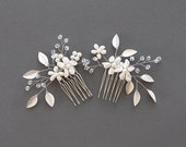 Silver Hair Comb   Silver Leaf Comb   Bridal Hair Pin   Wedding Hairpiece   Pearl Headpiece   Crystal Hair Piece [Phoebe Comb Set]