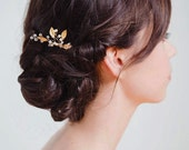 Gold Leaf Bridal Hair Comb | Gold Wedding Hair Accessories | Gold Pearl Bridal Headpiece [Iverness Hairpin: Gold]