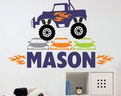 Monster Truck Wall Decal with personalized name - boy bedroom rub on vinyl stickers - monster truck with name decal - new design - truck