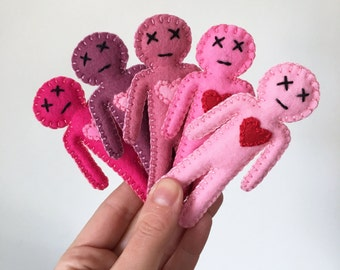 Mini Voodoo Dolls in shades of pink - love and naughty spells - mojo booster 4 adults - Seen in Stuffed Magazine, hand sewn OOAK