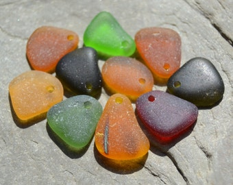 Genuine Sea Glass - Drilled Seaglass, Beach Glass - Earthy Autumn Colors with Red, Fall Jewelry Supply