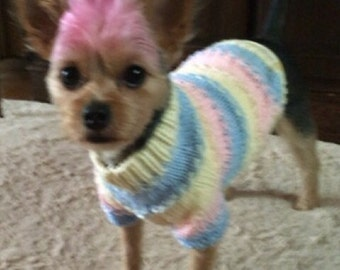 Textured Dog Sweater, Hand Knit Pet Top, Full Length,  Size SMALL, Loopy Loo Cream
