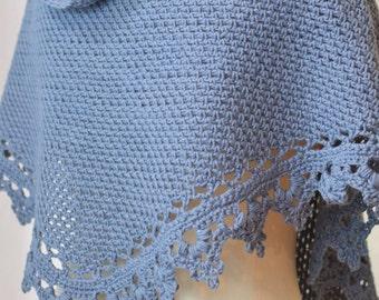 Crochet Shawl Pattern Black Raspberry (Cowl Scarf Shawlette) wedding shawl bridal shawl dk sport worsted lace yarn INSTANT pdf DOWNLOAD