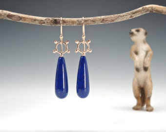 Lapis Earrings, 14kt Gold, Dangle Earrings, Lapis Lazuli Drops, Elegant, Handcrafted