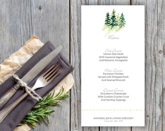 "Snowy Pine Trees Design Flat Wedding Menu - 4x8"" or 5x7"" - Dinner Menus"