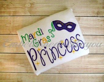 Mardi Gras Princess Applique Long Sleeve Ruffle Shirt for Girls