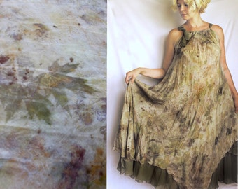 Silk gown, Natural Print, Eco leaf flower, Contact dyeing, Natural Plant Dyed, Eco Friendly Summer Silk