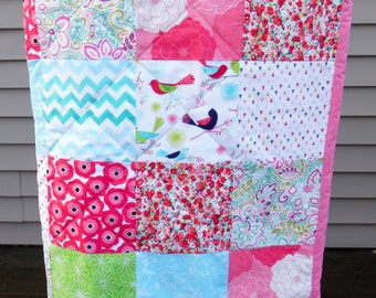 Baby Quilt - Patchwork Quilt - Baby Girl Quilt - Handmade Baby Quilt - Modern Baby Quilt - Pink Baby Bedding-Floral Crib Bedding -Crib Quilt