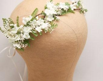 Rustic Flower Crown of Ivory Flowers and Green Fern Woodland Wedding Hair Halo Flower Crown Boho Wedding Babies Breath Bridal Hair Wreath