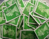 20 x  grass green used postage stamps - British Machin stamps, postal ephemera - crafting, collage, decoupage, upcycling, collecting mailart
