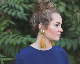 Tassel Earrings. Big Bold Earrings. Brass and Silk. Post earrings. Long Dangles. Mustard Yellow. Golden Rod. Long Tassel Earrings. For Her.